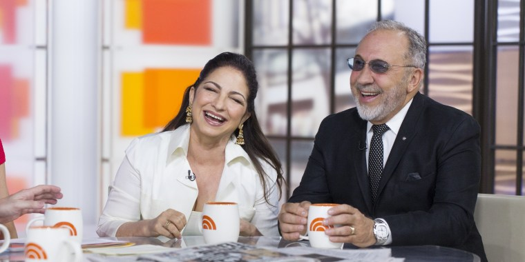 """Image: Gloria Estefan and her husband Emilio talk about their Broadway musical """"On Your Fee"""""""