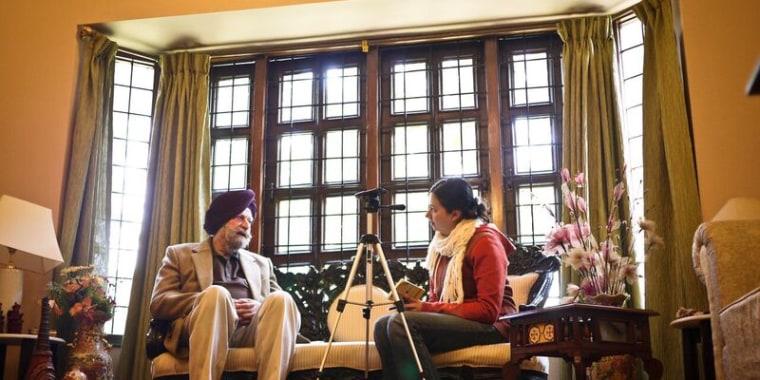 Singh Bhalla with Partition witness Trilok Singh Suri in Chandigarh, Haryana, India.