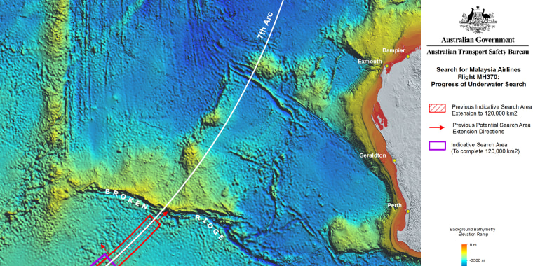 Image: Map of the progress of the underwater search of MH370