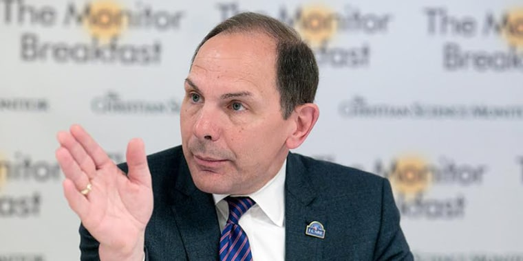 Department of Veterans Affairs Secretary Bob McDonald speaks at a breakfast with reporters on May 23.