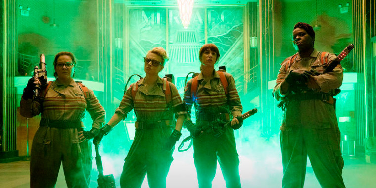 The Ghostbusters Abby (Melissa McCarthy), Holtzmann (Kate McKinnon), Erin (Kristen Wiig) and Patty (Leslie Jones) inside the Mercado Hotel Lobby.