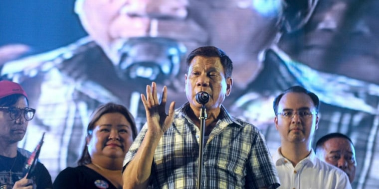 Image: President-elect Rodrigo Duterte during a victory party at a park in Davao City