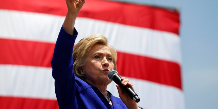 Image: U.S. Democratic presidential candidate Hillary Clinton makes a speech during a campaign stop in Lynwood, California
