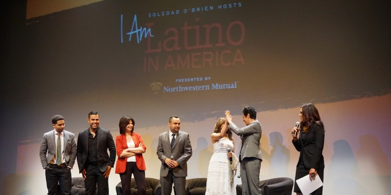 """Panelists join the stage at the end of Soledad O'Brien's New York City showing of her """"I Am Latino In America"""" tour."""