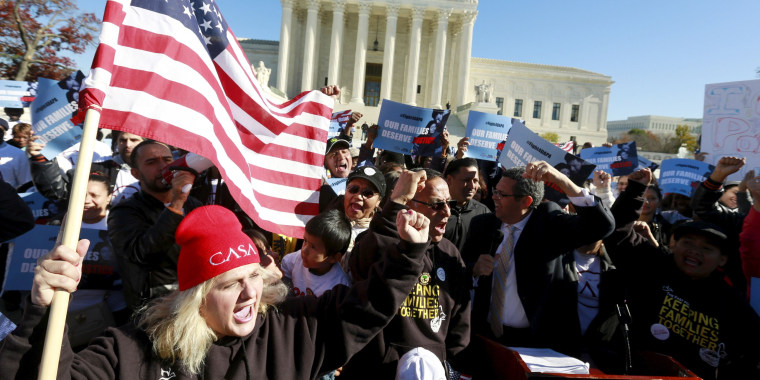 Image: Immigrants and community leaders rally in front of the U.S. Supreme Court in Washington