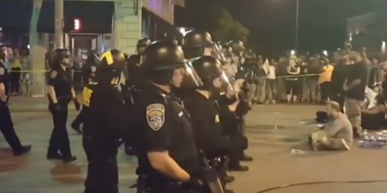 Police at a Black Lives Matter Protest in Rochester, New York, on Friday July 8, 2016.