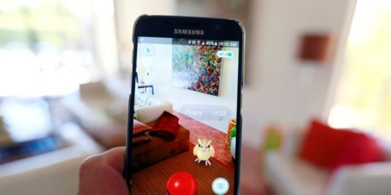 "Illustration of the augmented reality mobile game ""Pokemon Go"""