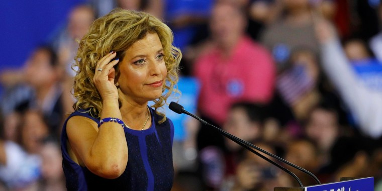 Image: DNC Chairwoman Debbie Wasserman Schultz speaks at a rally before the arrival of Hillary Clinton and Tim Kaine in Miami