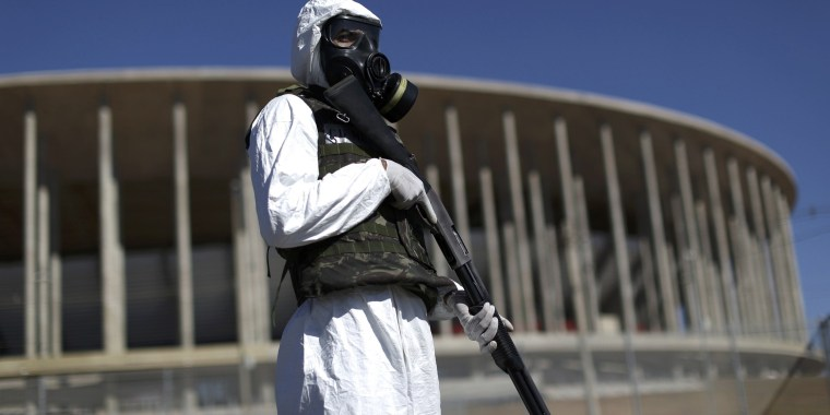 Image: Soldier takes part in army exercise against possible chemical attack at the Mane Garrincha National Stadium in Brasilia