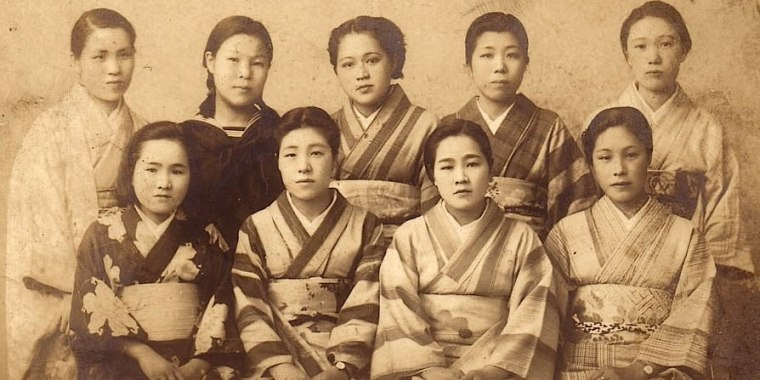 "Filmmaker Yayoi Lena Winfrey's mother, Yuriko Naito Winfrey, with friends at the beginning of the war from the documentary film, ""War Brides of Japan."""