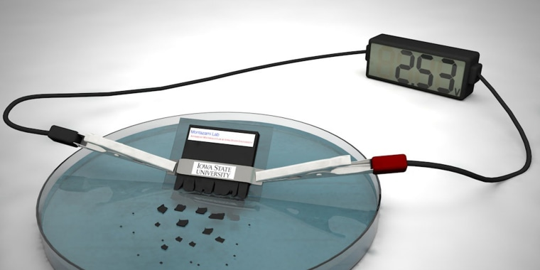 Graphic rendering of a self-destructing, lithium-ion battery.