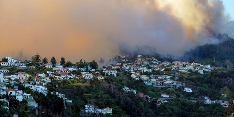 Image: Smoke rises from a wildfire over Galeao and Alegria in Sao Roque, Madeira island