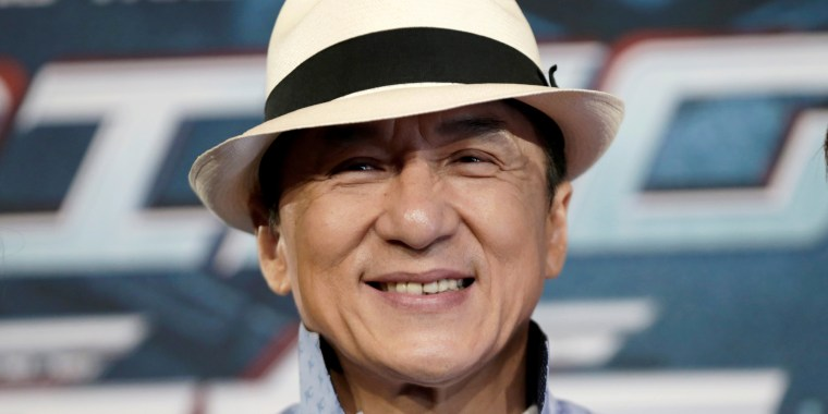Actor Jackie Chan poses for the cameras at the announcement of the beginning of production for the science fiction action film 'Bleeding Steel', which has been billed by producers as the biggest budget Chinese film ever shot in Australia.
