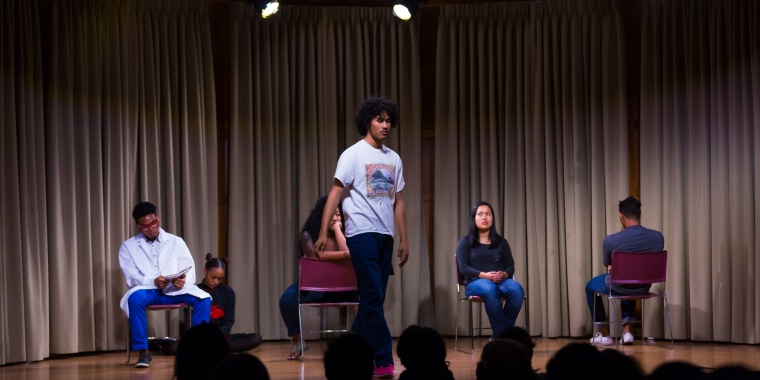 """A scene from one of the stagings of """"Blasian Narratives,"""" a theater and online video project exploring the Asian and Black mixed race experience."""
