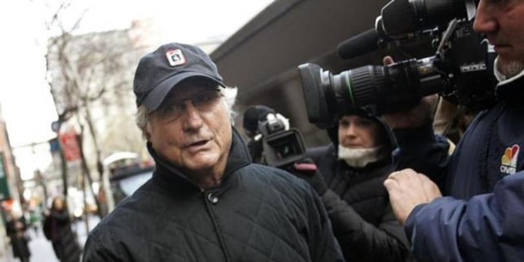 File photo of Bernard Madoff walking back to his apartment in New York