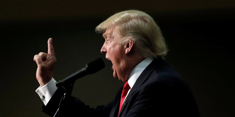 Image: Republican presidential nominee Donald Trump speaks at a campaign rally in Asheville