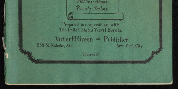 "1940 book cover of ""The Negro-Motorist Green Book,"" from the New York Public Library collection."