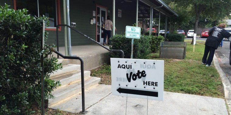 Signs show direction to the location in Leon Valley, Texas for early voting.