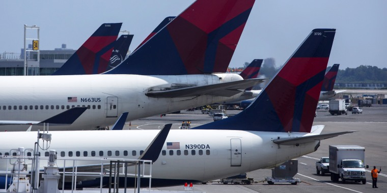 Image: Delta Airlines planes sit at Terminal 4 at John F. Kennedy Airport