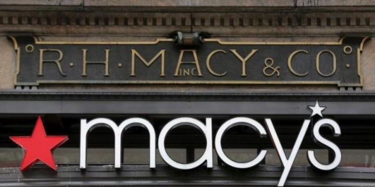 The R.H. Macy and Co. is seen over the logo for Macy's department store at the flagship store in New York
