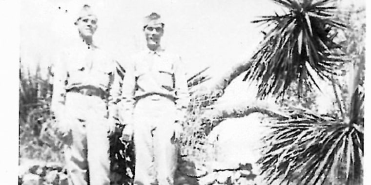 Hubert Edward Spires, left, is seen in this handout photo taken when he was in the Air Force. Spires, 91, was discharged due to his sexual orientation in 1948 and has filed a lawsuit seeking to change his status so he can have a military burial.