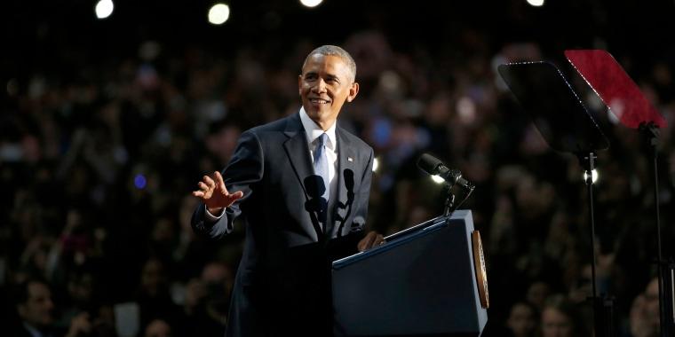 Image: President Barack Obama gives his presidential farewell address
