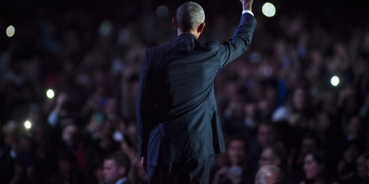 Image: President Obama waves to supporters after delivering his farewell speech at McCormick Place on Jan. 10, 2017 in Chicago. Obama addressed the nation in what is expected to be his last trip outside Washington as president.