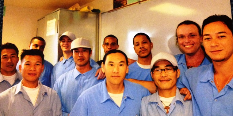 Tung Nguyen (front, second from right) with members of KidCAT, a group Nguyen co-founded at San Quentin Correctional Facility for juvenile lifers.