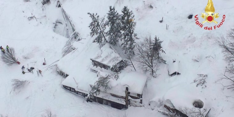 Image: An aerial view shows Hotel Rigopiano in Farindola, central Italy, hit by an avalanche