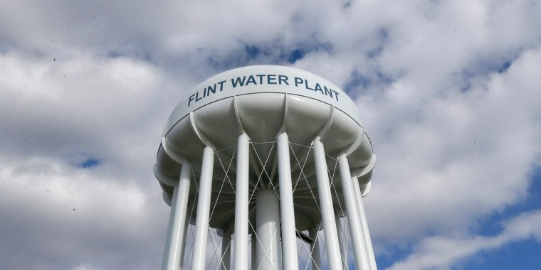 Image: The Flint Water Plant water tower is seen in Flint, Michigan on March 21, 2016.