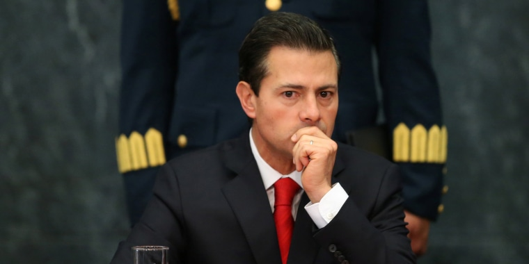 Image: Mexico's President Enrique Pena Nieto gestures during the deliver of a message about foreign affairs at Los Pinos presidential residence in Mexico City