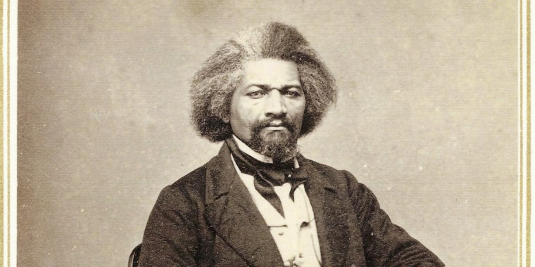"""A photograph of Frederick Douglass from a series of """"Carte de Visites""""  produced from his visit to Hillsdale College on January 21, 1863."""