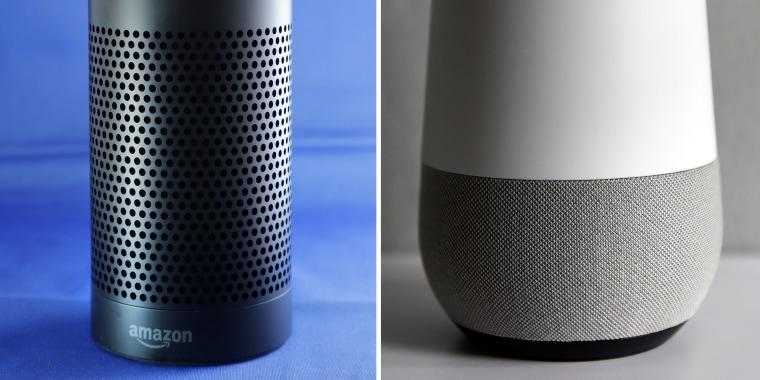 Image: (Left) Amazon Echo, (Right) Google Home.