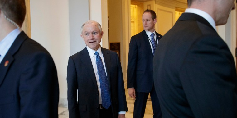 Image: Jeff Sessions leaves his office on Capitol Hill in Washington