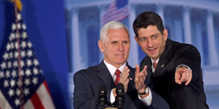 """Image: Vice President Mike Pence and House Speaker Paul Ryan acknowledge the crowd during the 2017  """"Congress of Tomorrow"""" Joint Republican Issues Conference in Philadelphia, Pennsylvania on Jan. 26."""
