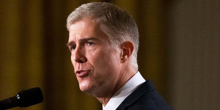 Image: Neil Gorsuch, federal judge serving on the 10th US Circuit Court of Appeals, delivers remarks after President Donald J. Trump announced him as his nominee for the Supreme Court in Washington, D.C. on Jan. 31.