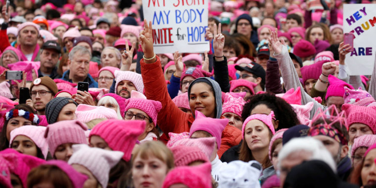 Image: People gather for the Women's March in Washington