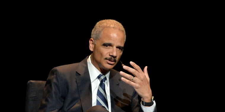 "Image: Eric Holder, Former U.S. Attorney General attends the 2016 ""Tina Brown Live Media's American Justice Summit"" at Gerald W. Lynch Theatre on Jan. 29, 2016 in New York City."