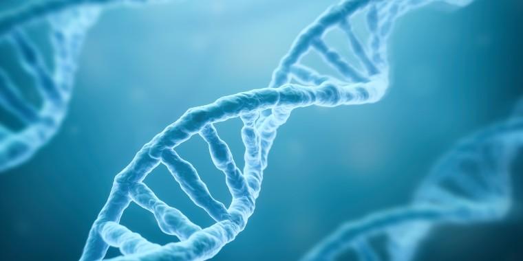 DNA Strands on blue background