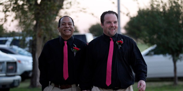 Image: Darren Black Bear and Jason Pickel arrive to be married