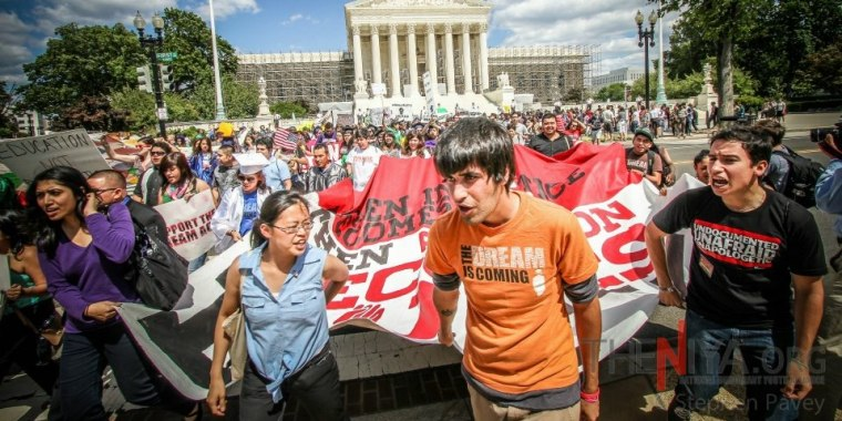 Tereza Lee at a June 2012 rally for undocumented youth outside the Supreme Court in Washington, D.C.