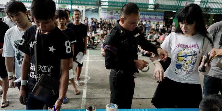 Transgender woman at Thai army draft