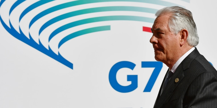 Image: Rex Tillerson has been at the G-7 in Italy and will head to Moscow later for talks with Russia on Syria