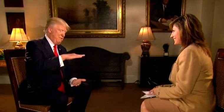 "Image: Trump gestures during his interview with Fox Business Network's Maria Bartiromo to illustrate the size of the ""beautiful chocolate cake"""