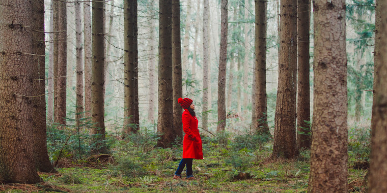 Image: Woman Walking Along Wooded Road