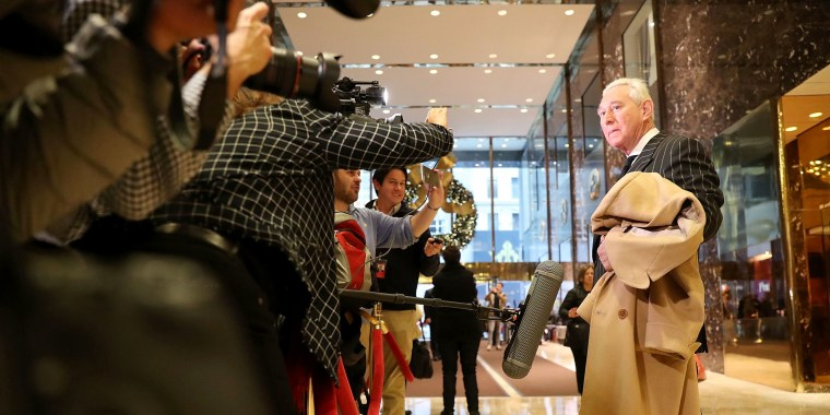 Image: Roger Stone speaks to the media at Trump Tower on Dec. 6, 2016 in New York City.