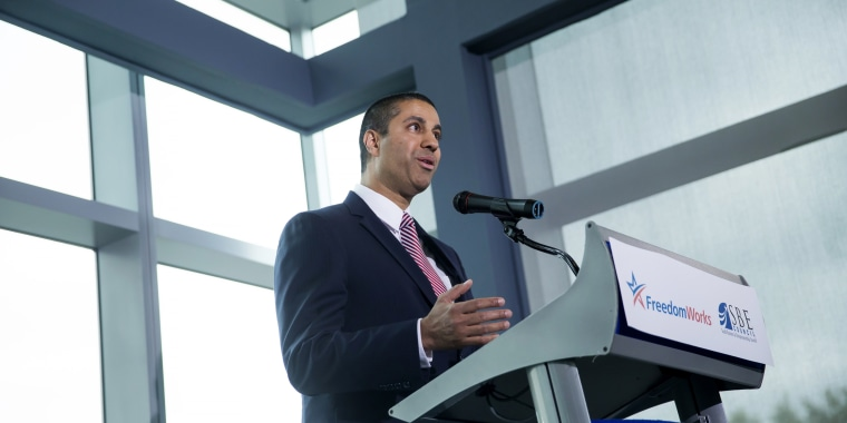Image:  Federal Communications Commission Chairman Ajit Pai speaks during an internet regulation event