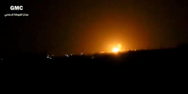 Image: Explosions and rising flames over Damascus, Syria overnight.
