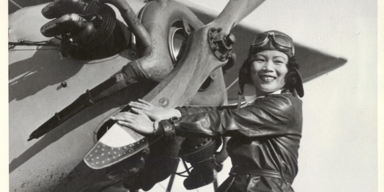 Katherine Sui Fun Cheung with her airplane.
