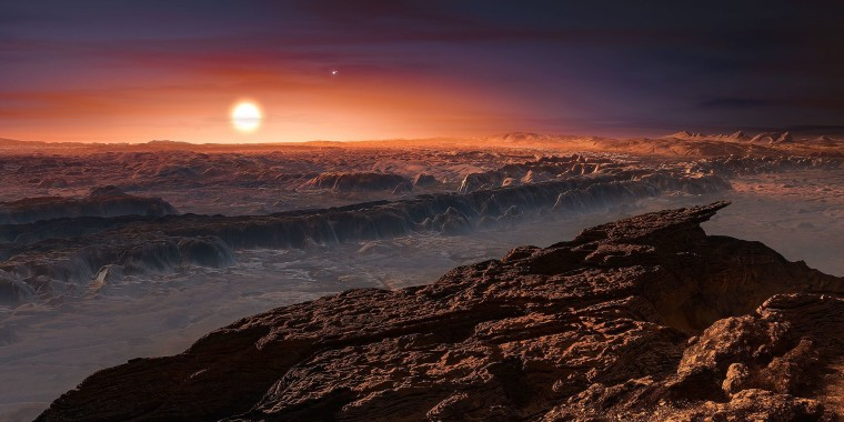 Artist's impression of exoplanet Proxima b orbiting the red dwarf star Proxima Centauri, the closest star to the solar system.